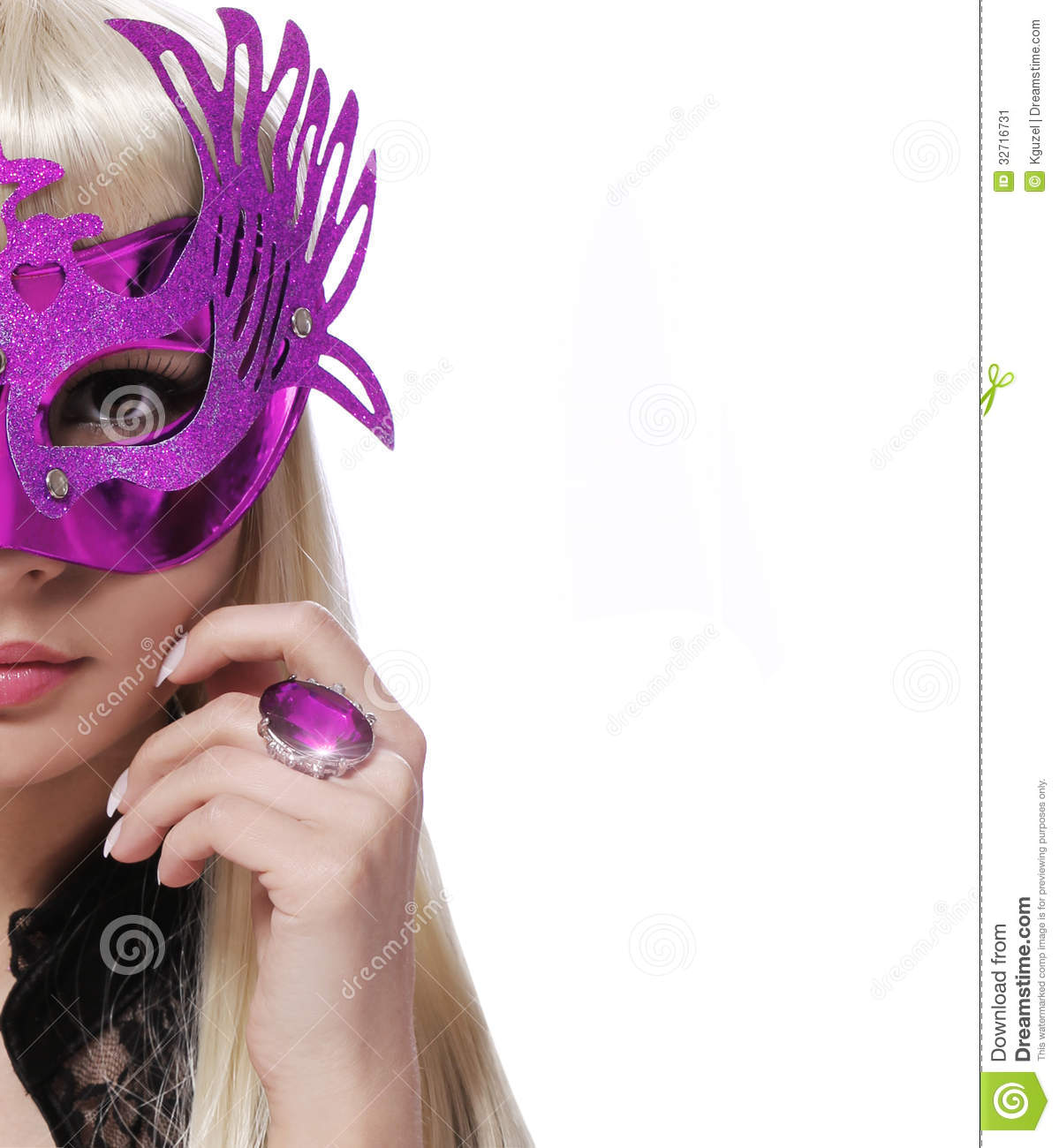 Fashion Girl With Carnival Mask And Purple Ring Over White Background Halloween Stock Image
