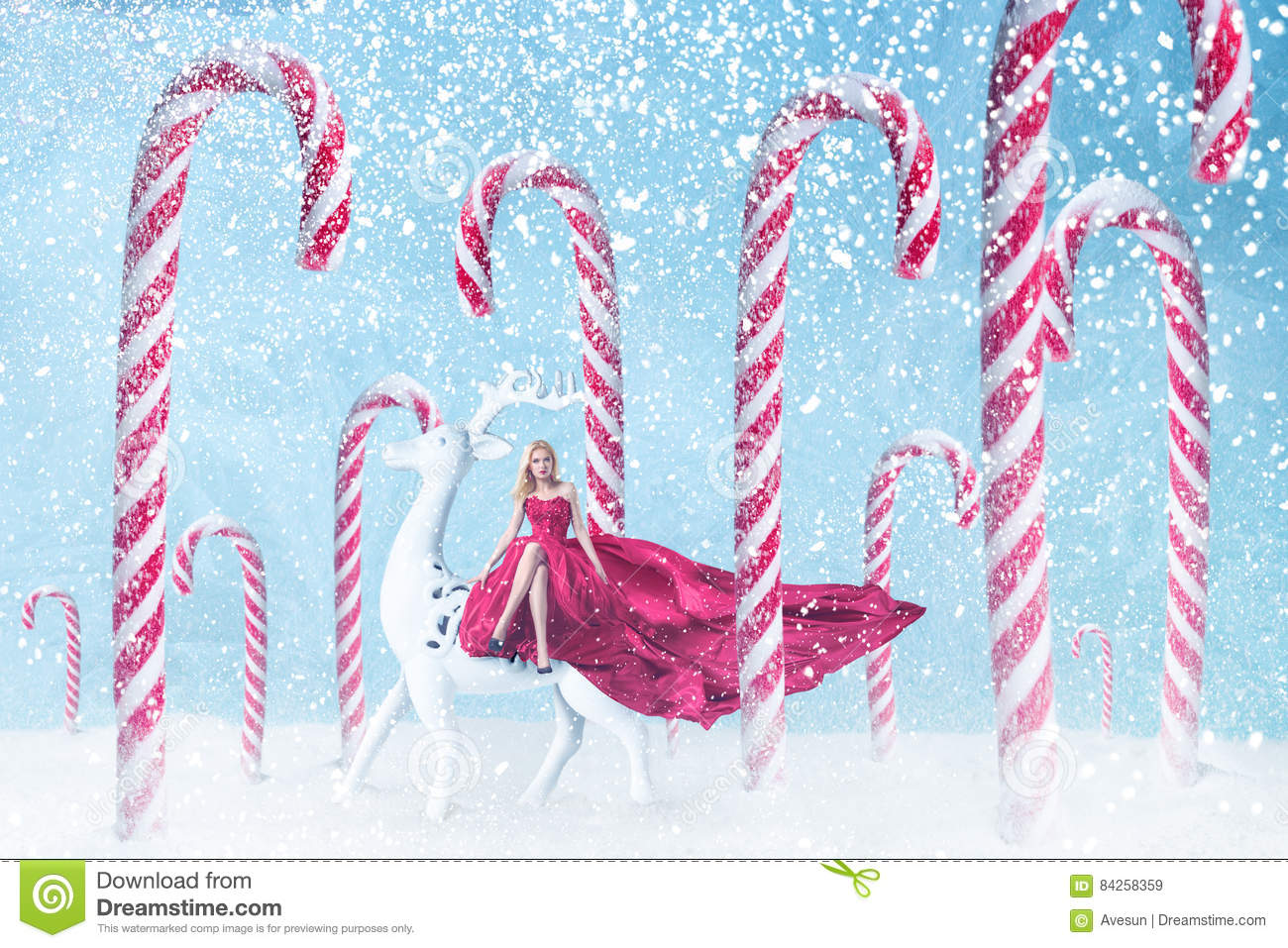 Fashion Girl With Christmas Candy Canes Stock Image Image Of