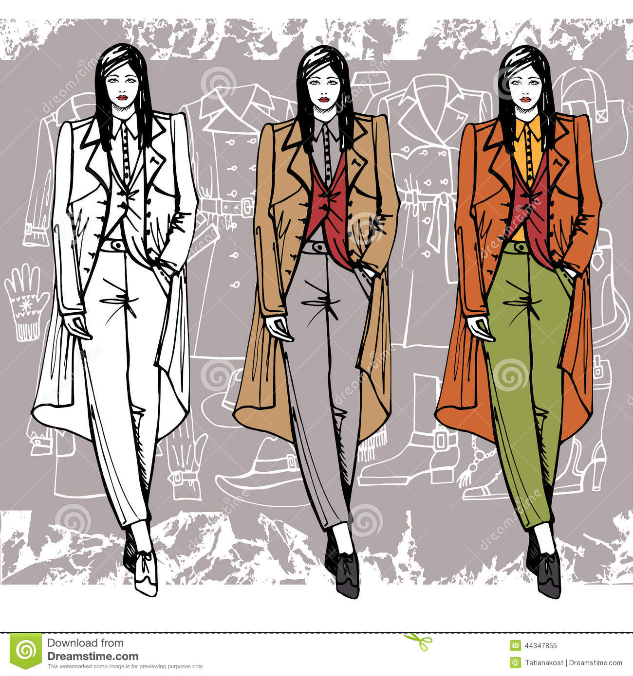 Fashion Girl In Coat Sketch Style Grunge Stock Vector Image 44347855