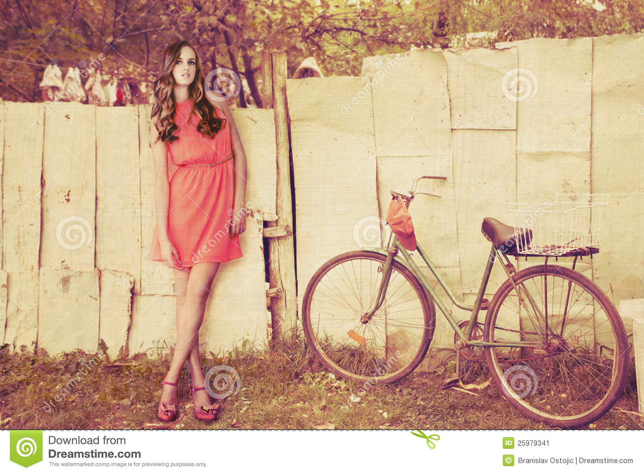 Fashion girl on country