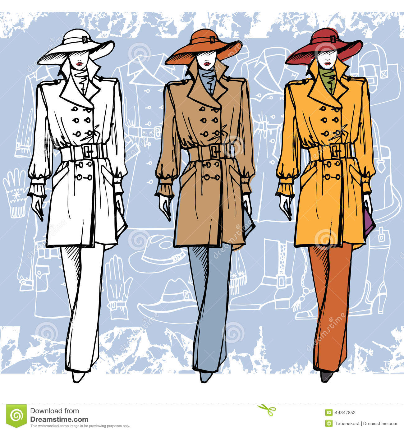 Fashion Girl In Hat Sketch Style Grunge Stock Vector Image 44347852