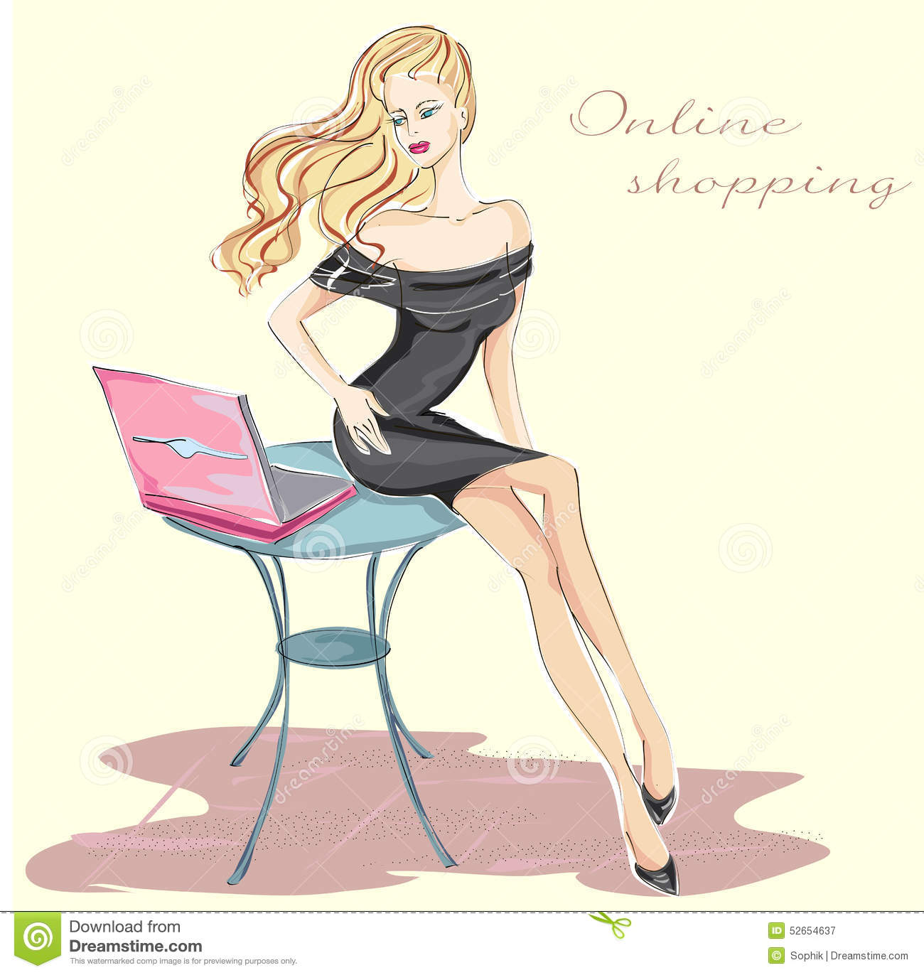 Fashion Girl With Laptop Shopping Online Stock Illustration ...