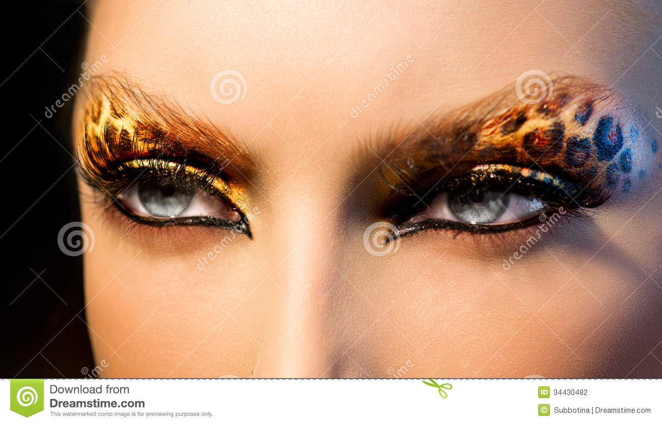 Fashion Girl With Leopard Makeup Stock Photography Image