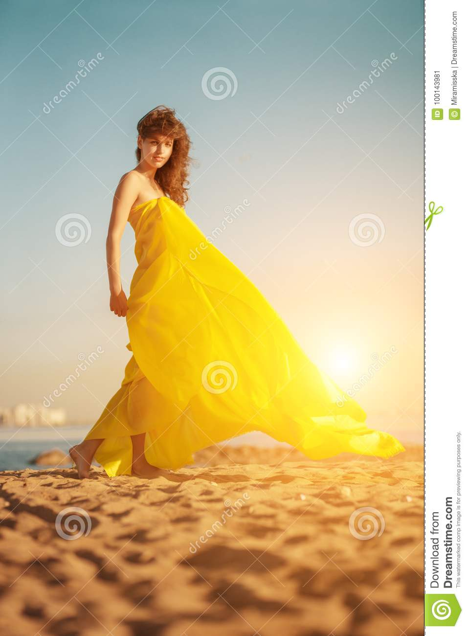 Fashion girl in a long dress against a summer sunset background.