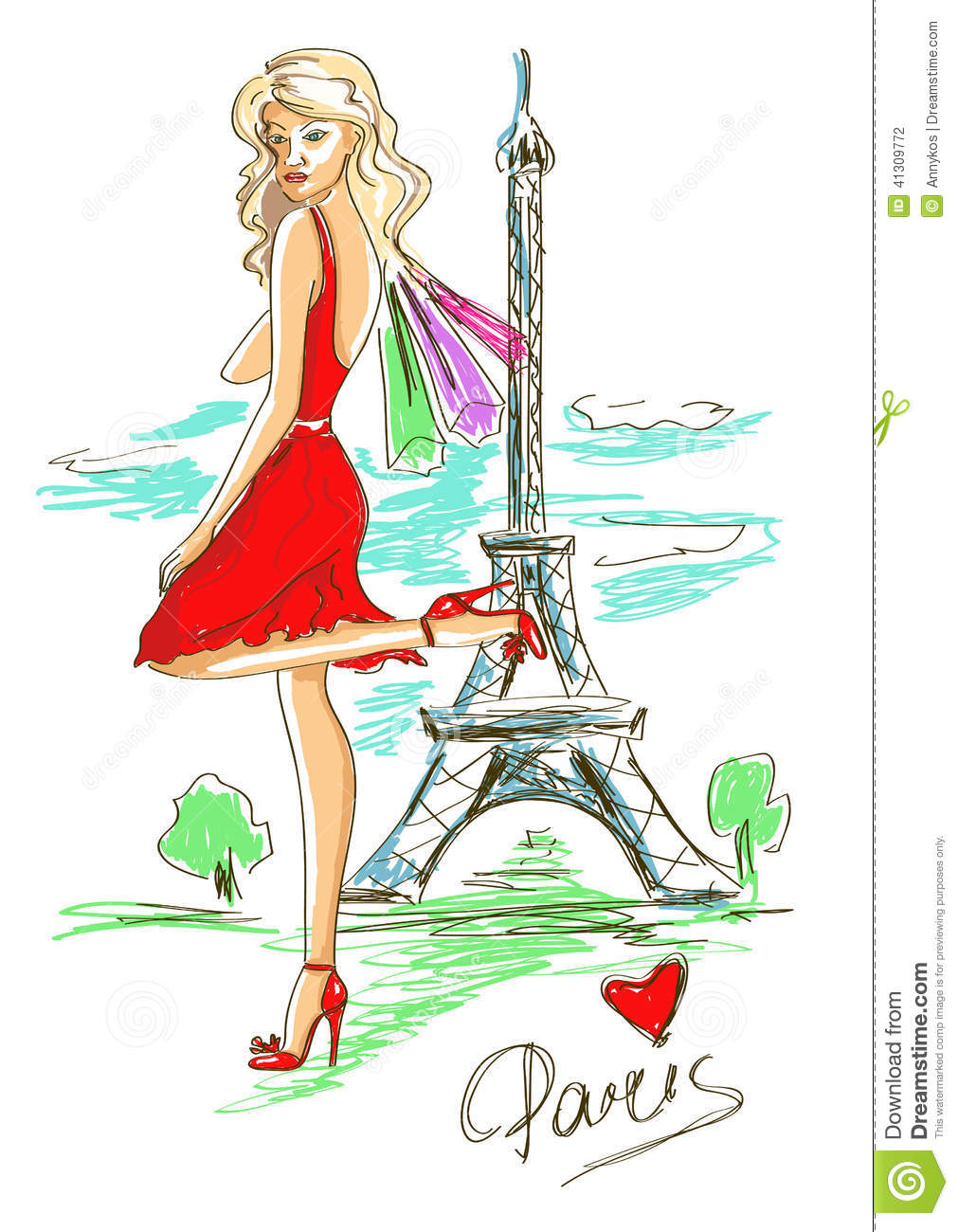Fashion Girl In Paris Stock Vector - Image: 41309772