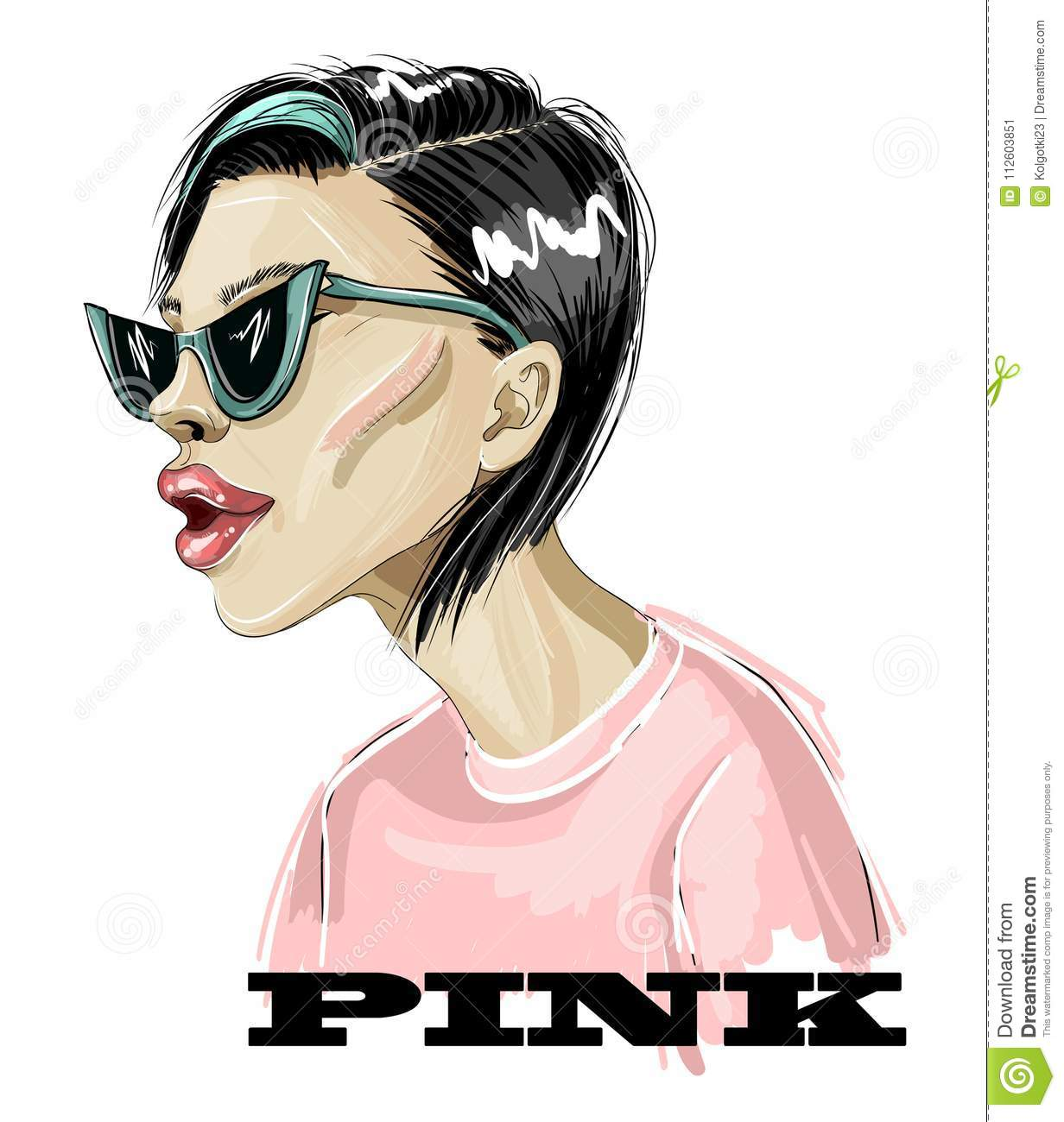 Fashion Girl In Pink T-shirt And Trendy Sunglasses. Vector