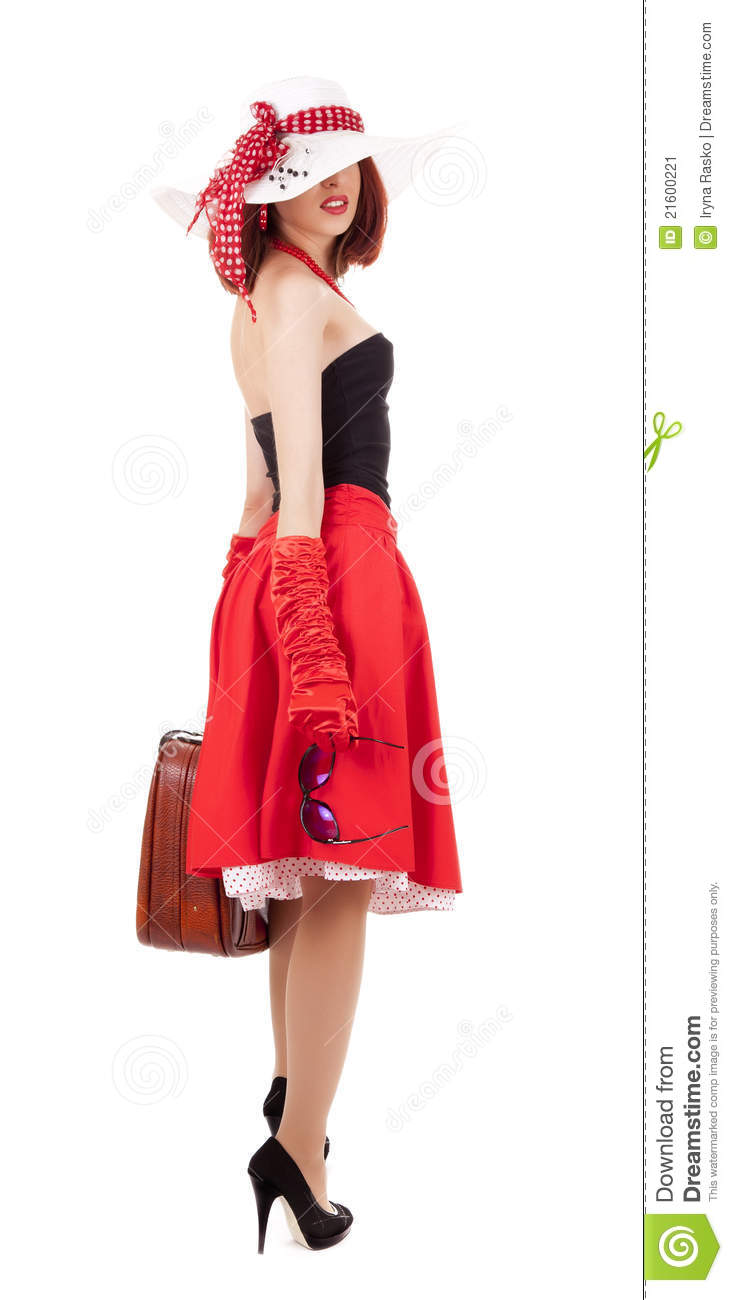 Fashion Girl In Retro Style With Suitcase Stock Image