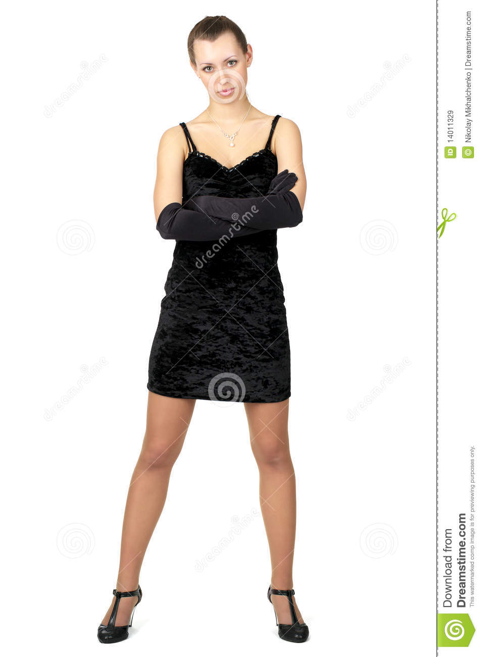 Fashion Girl In Short Black Dress Royalty Free Stock