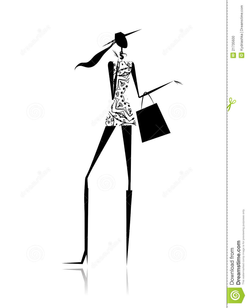 Fashion Girl Silhouette With Shopping Bag Stock Photo ...