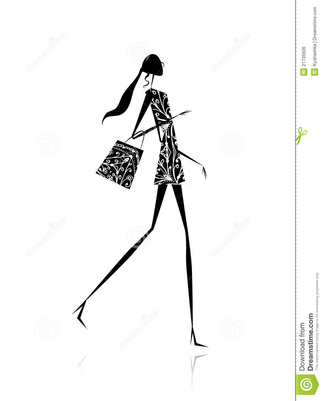 Fashion Girl Silhouette With Shopping Bag Stock Vector ...