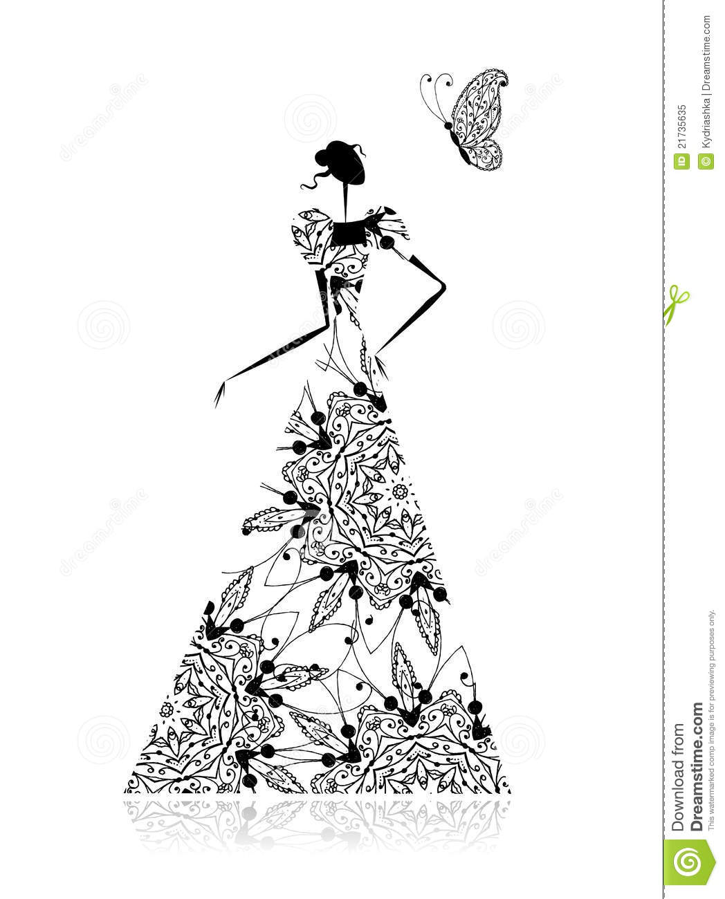 Fashion Girl Silhouette In Wedding Dress Stock Vector