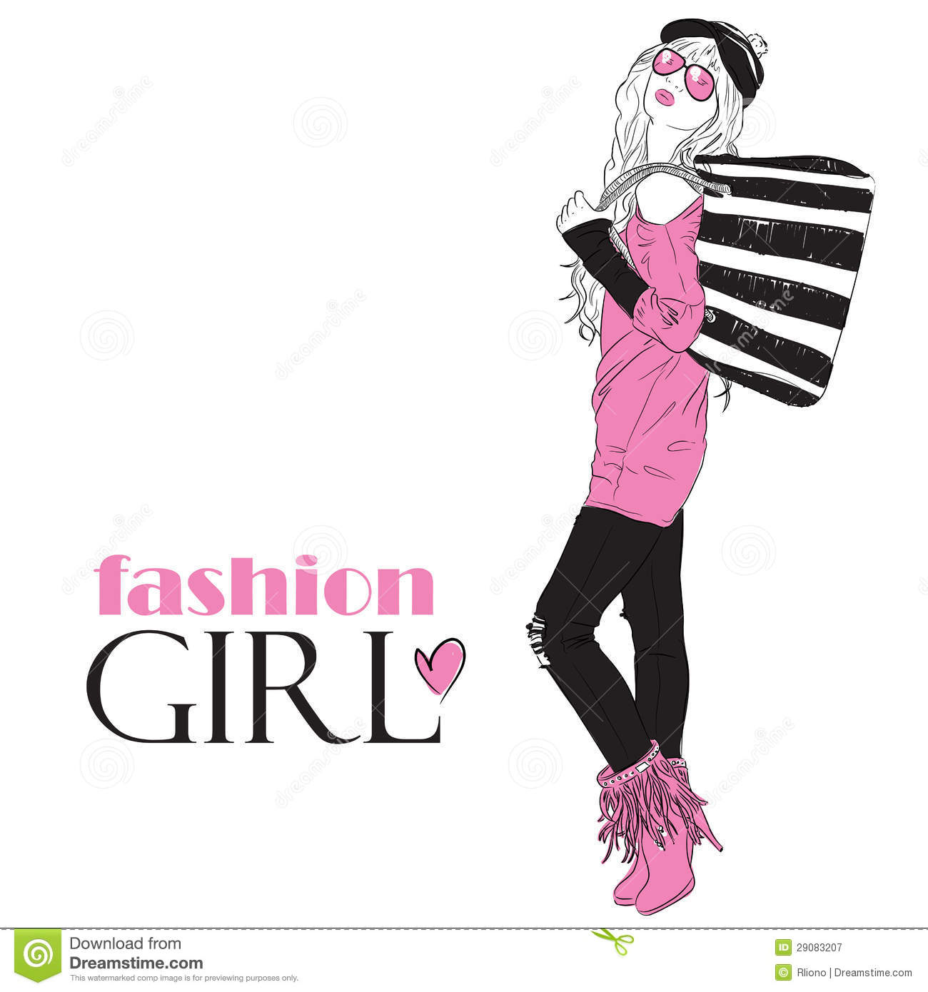 Fashion Girl In Sketch Style Stock Vector Image 29083207