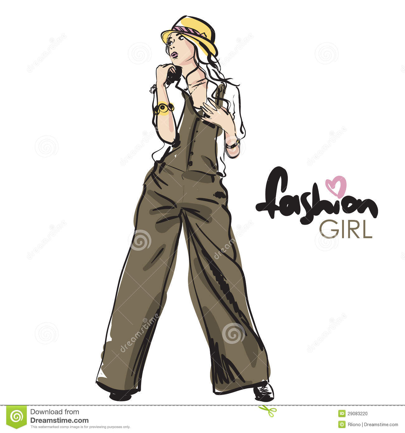 Fashion Girl In Sketch Style Stock Photo Image 29083220