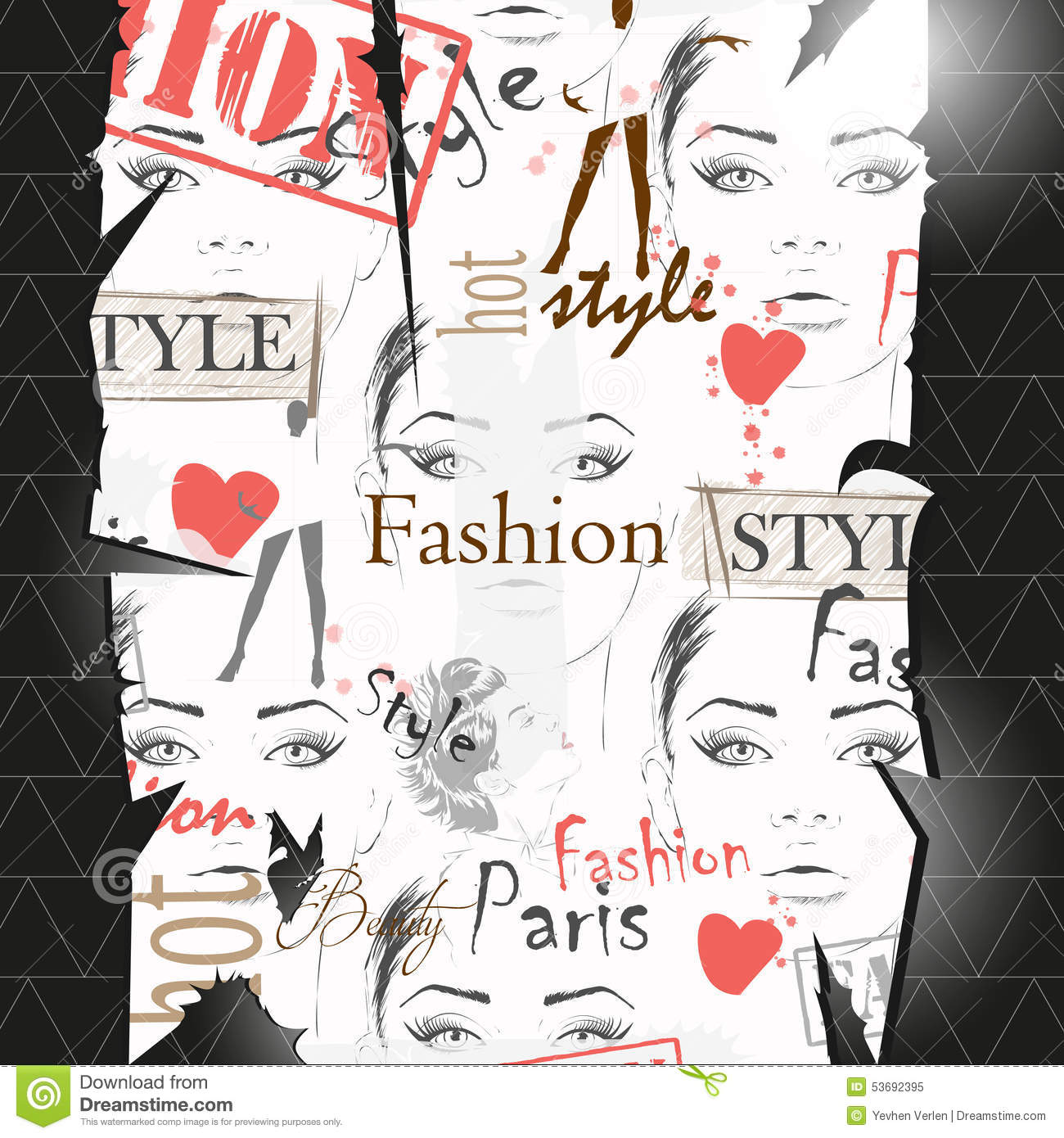 Fashion Girl In Sketch Style Stock Vector Illustration 53692395