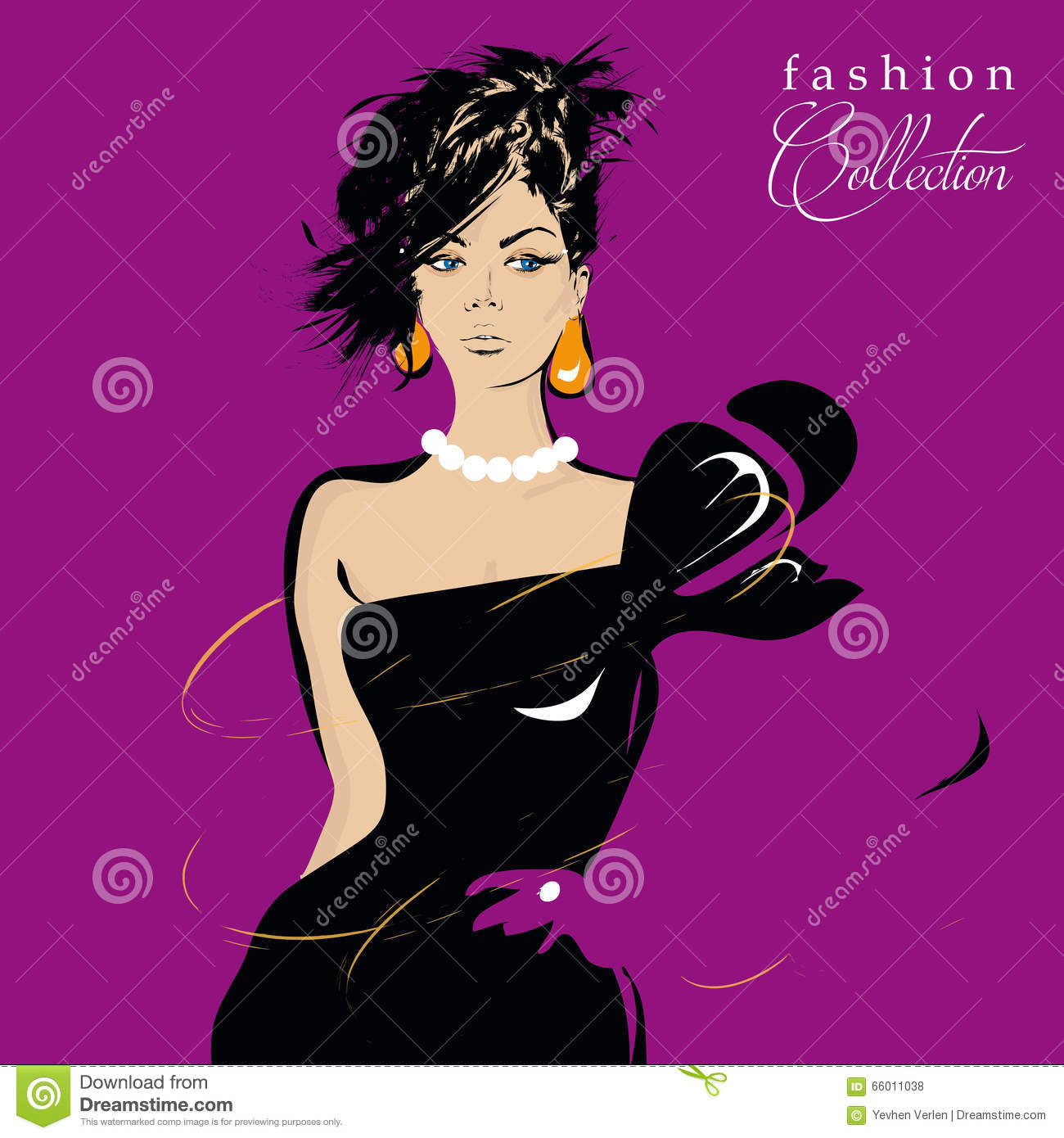 Fashion Girl In Sketch Style Stock Vector Image 66011038