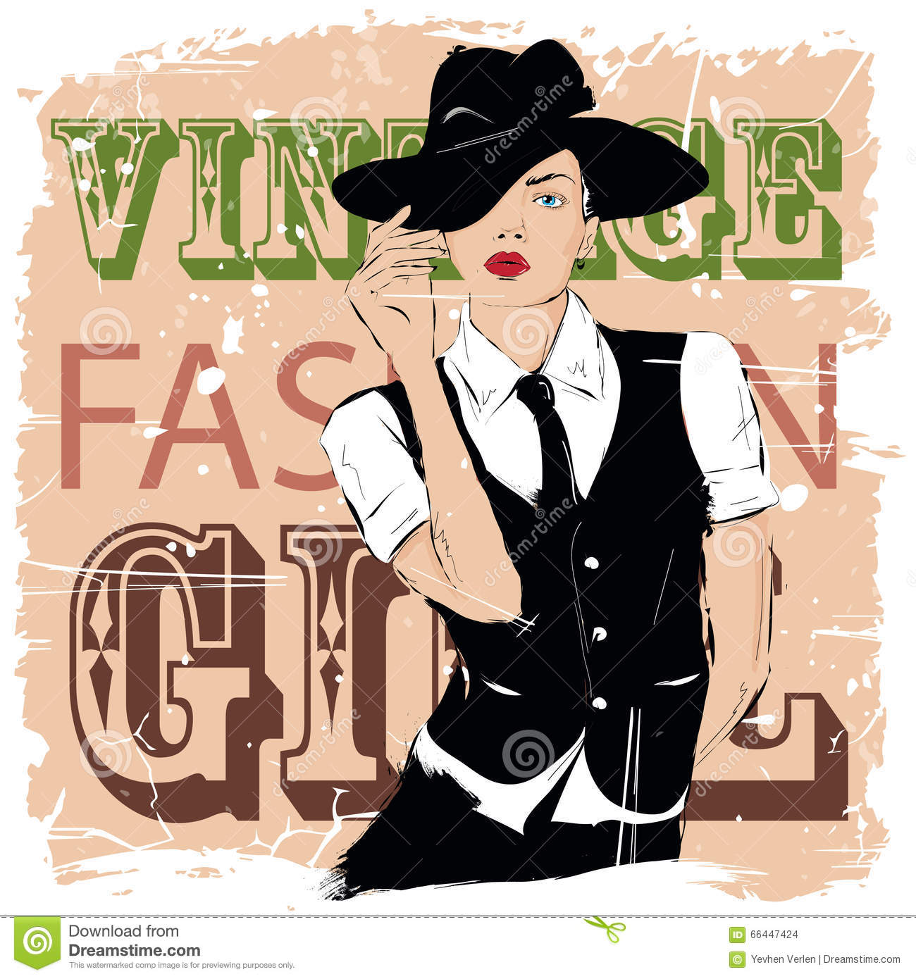 Fashion Girl In Sketch Style Stock Vector Illustration Of Portrait Color 66447424