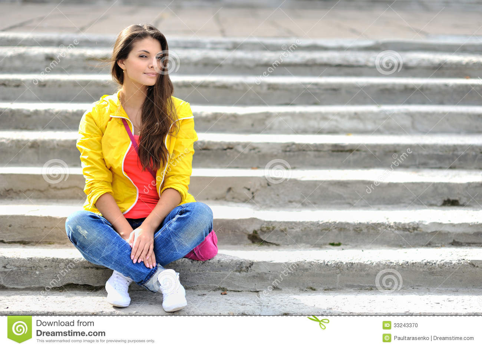 Fashion Girl Urban Style Portrait Outdoor Stock Photo