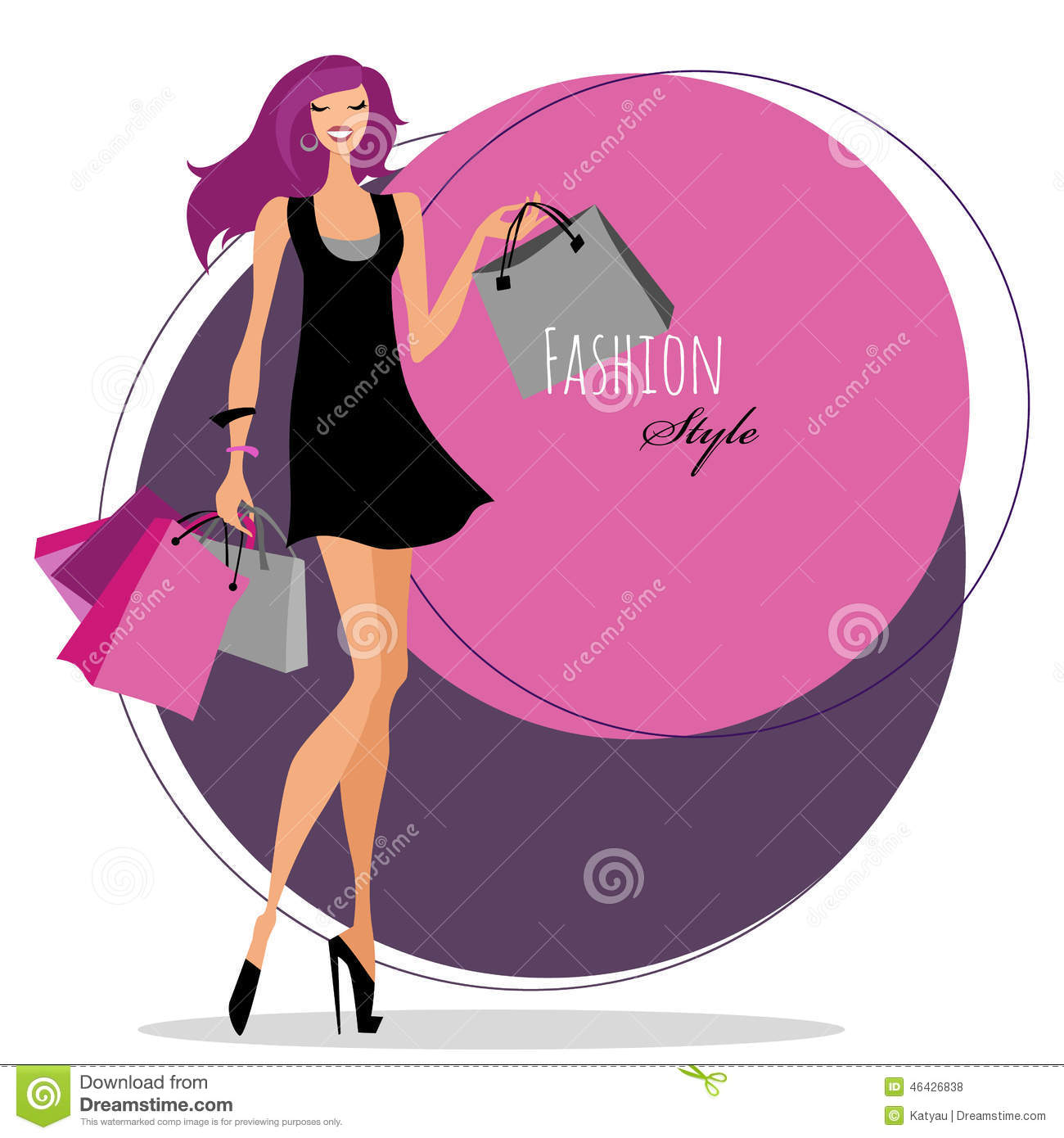 Fashion Girl. Woman With Shopping Bags. Stock Vector ...