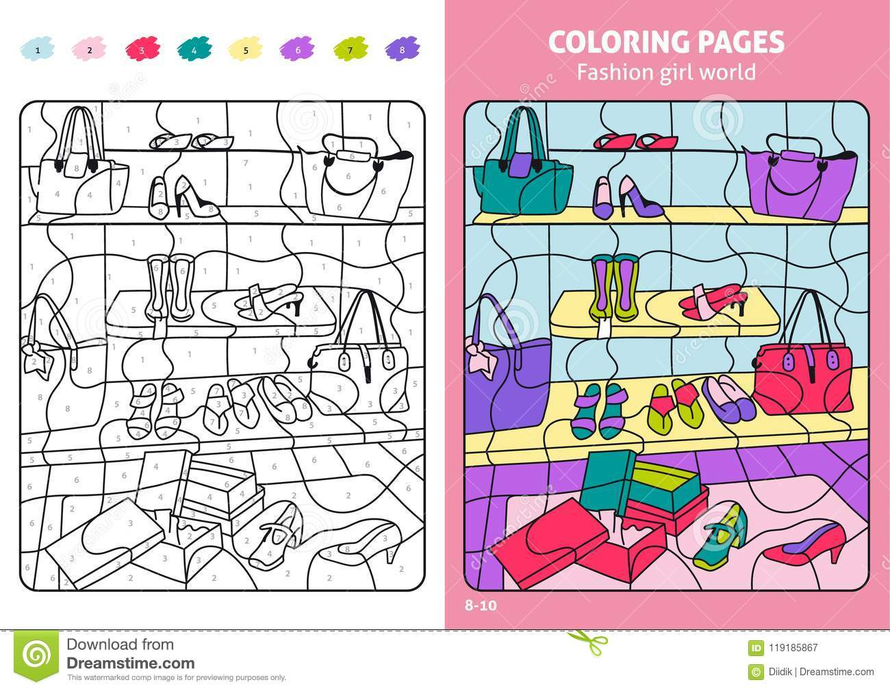 Fashion Girl World Coloring Page For Kids, Shoes. Stock Vector ...