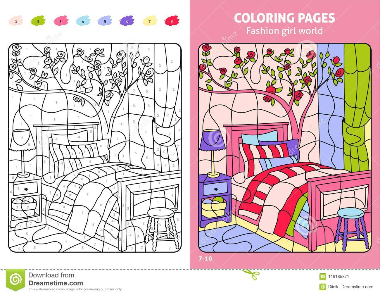 Download Fashion Girl World Coloring Pages For Kids Room Stock Vector
