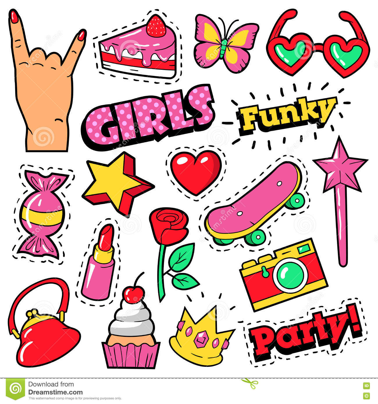 Fashion Girls Badges, Patches, Stickers - Cake, Hand, Heart, Crown