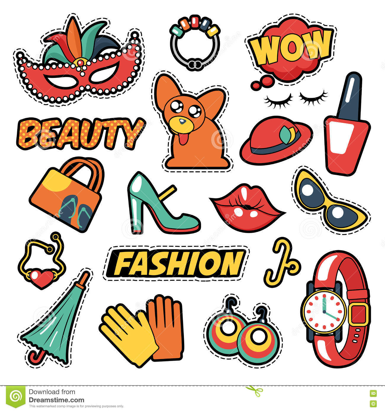 Fashion Girls Badges, Patches, Stickers - Comic Bubble, Dog, Lips and Clothes in Pop Art Comic Style