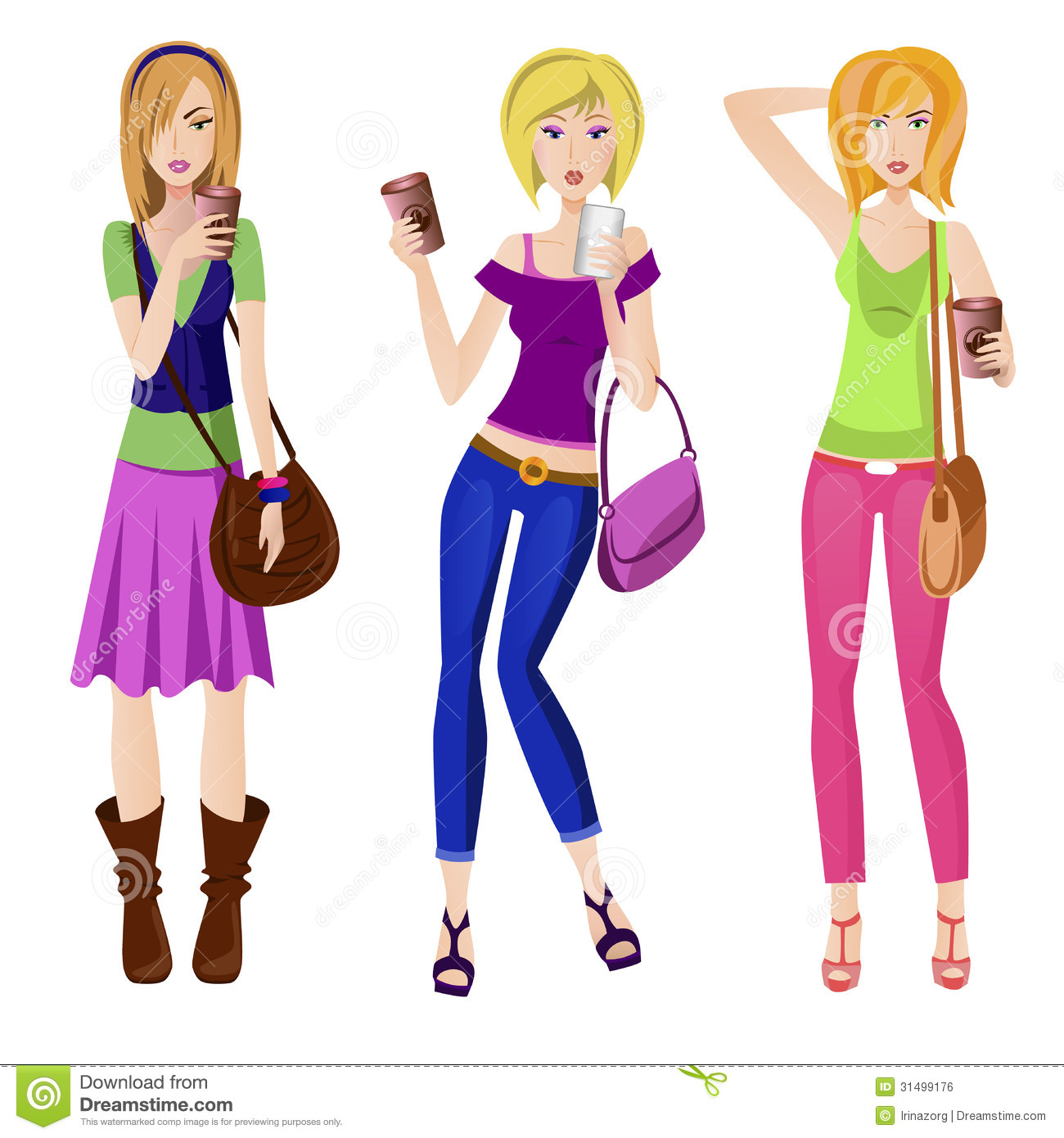 Fashion Girls With Big Cups Of Coffe Stock Vector Image 31499176