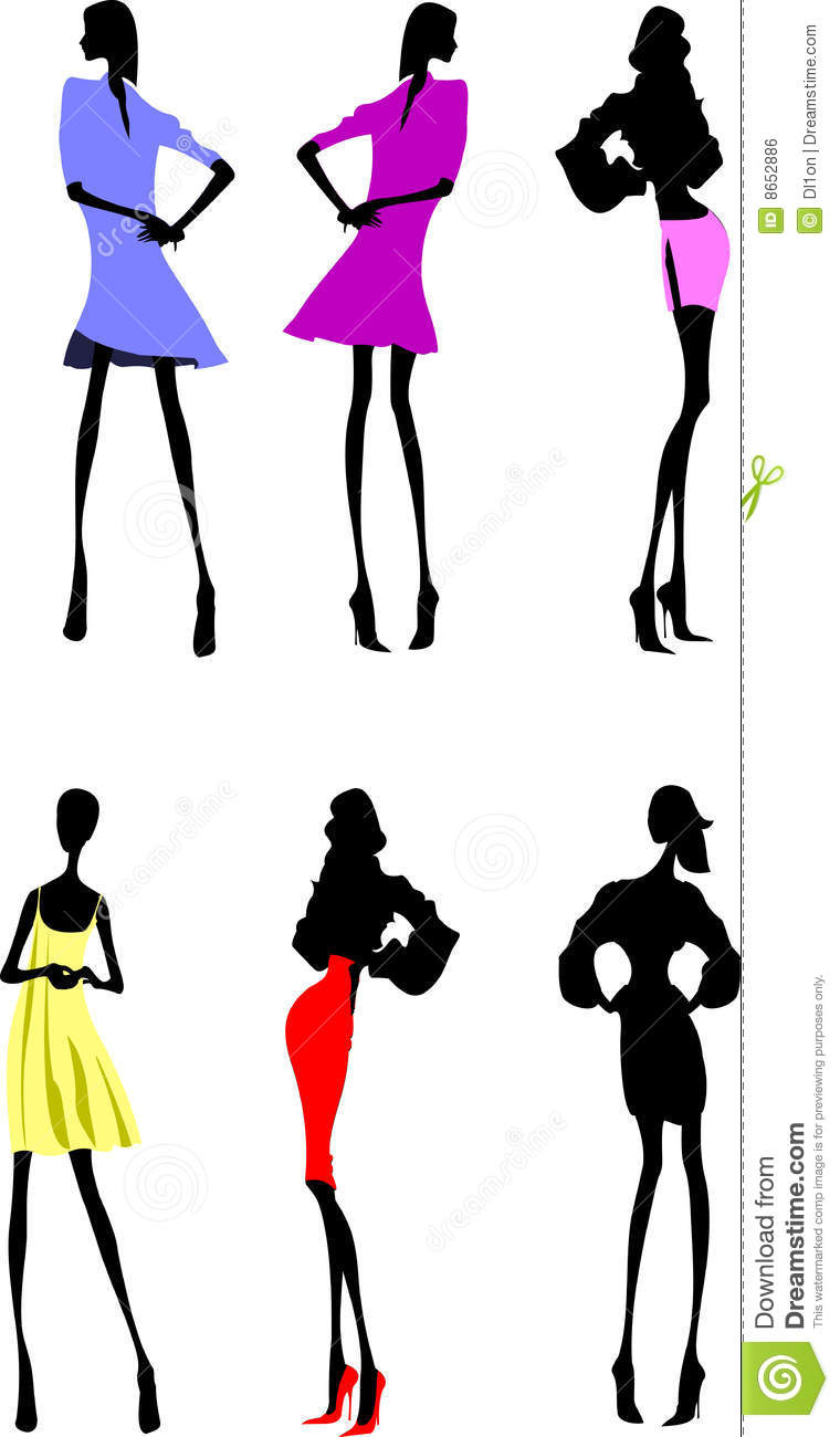 Fashion Girls Designer Silhouette Sketch Royalty Free