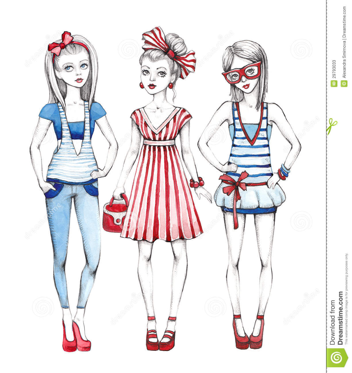 Line Art Fashion : Fashion girls illustration stock photos image