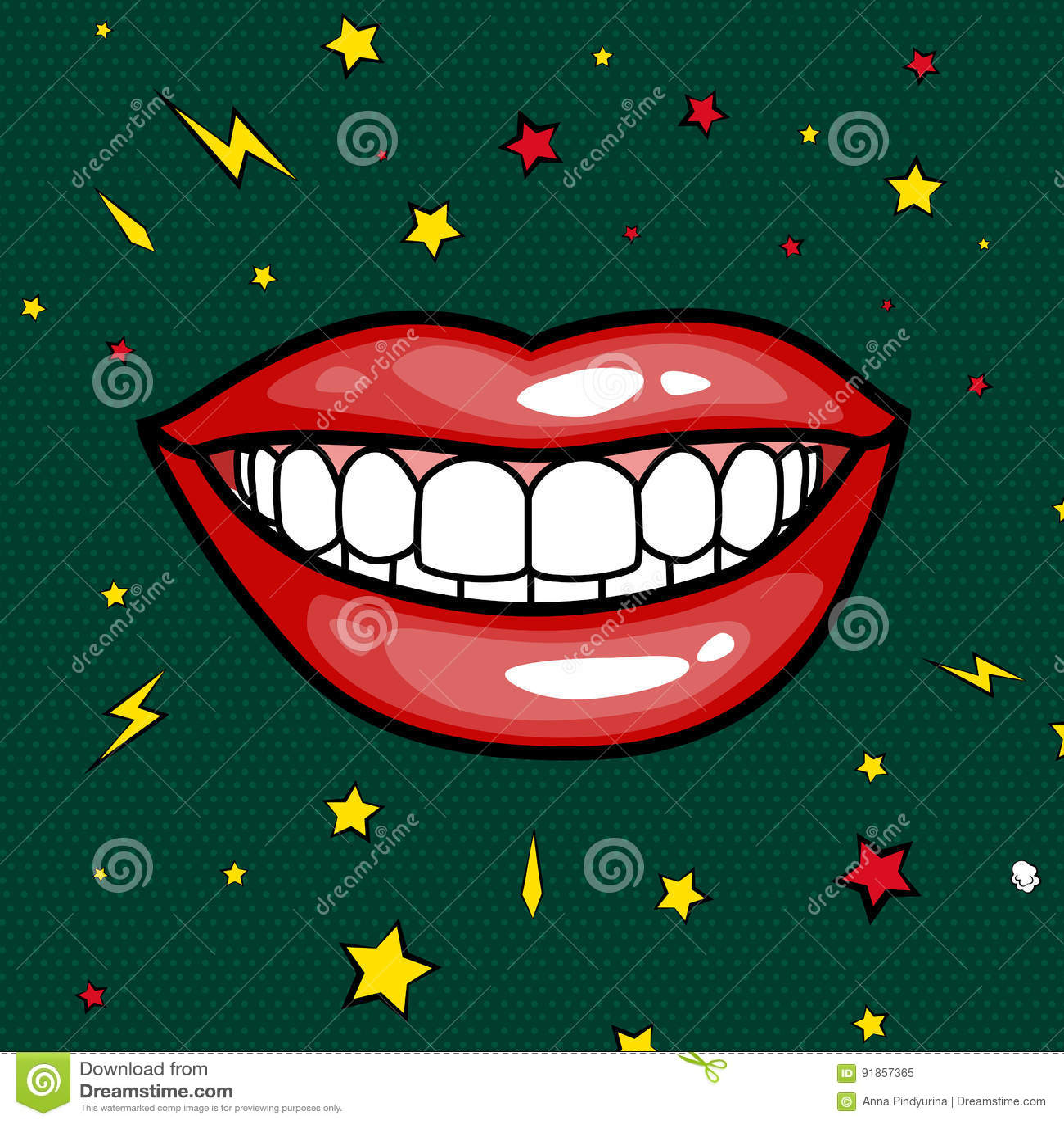 Fashion Girls Lips With Red Lipstick In Cartoon Pop Art