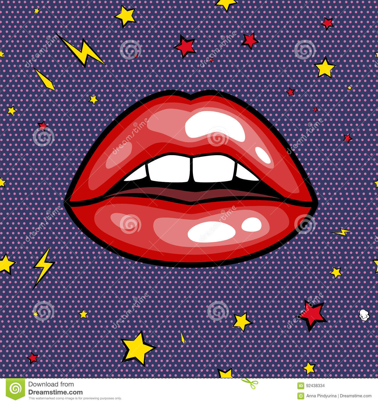 Fashion Girls Lips With Red Lipstick In Cartoon Pop Art Style Patch Badges Cool Retro Collection Sticker Vector Stock Vector Illustration Of Drawing Mouth 92438334