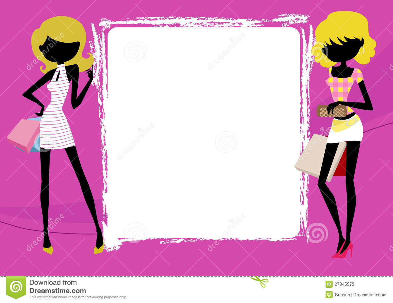 Fashion Girls With Shopping Bag And Frame Royalty Free