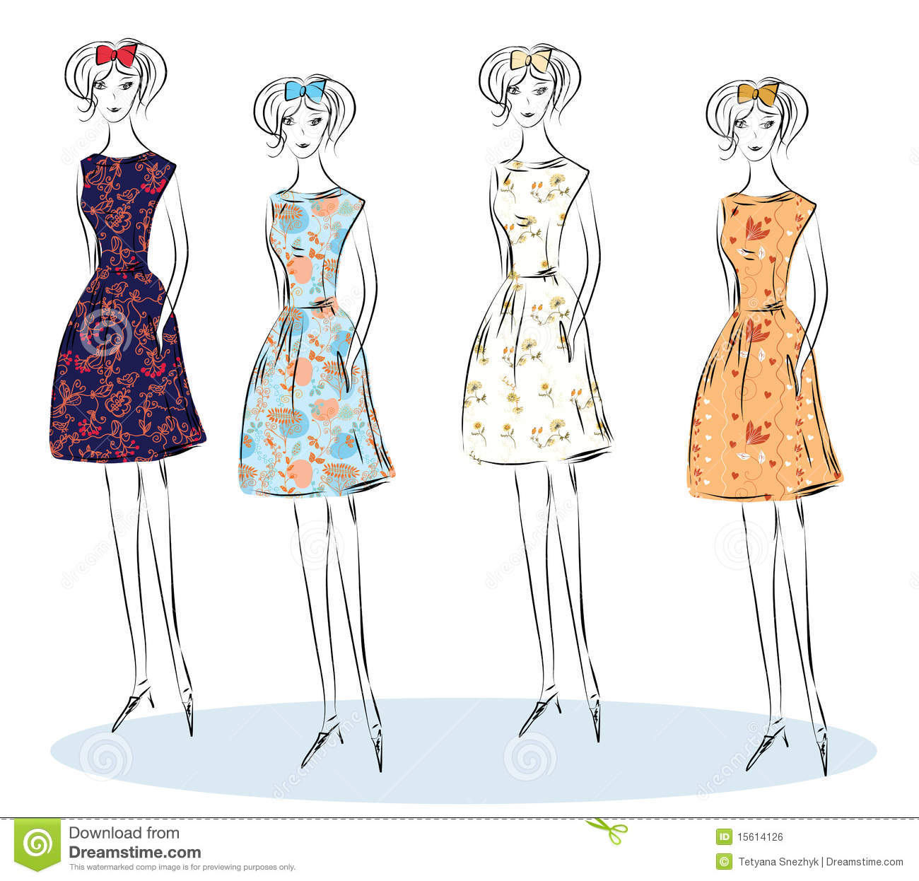 Fashion Girls Sketch Royalty Free Stock Image Image 15614126