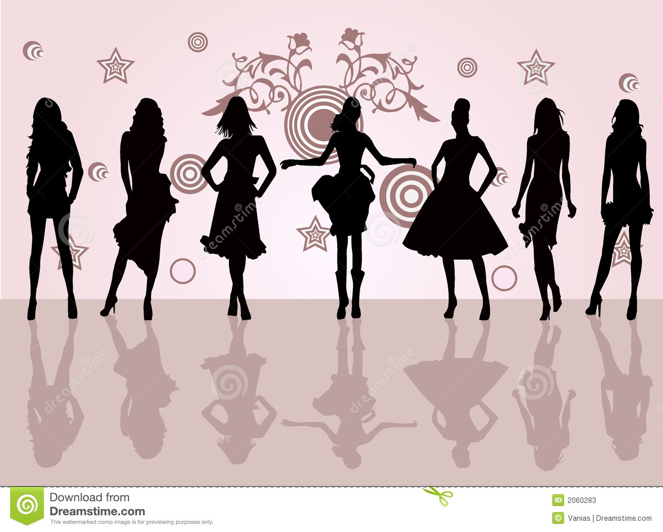 Fashion Girls Vector Illustration Stock Photos Image 2060283