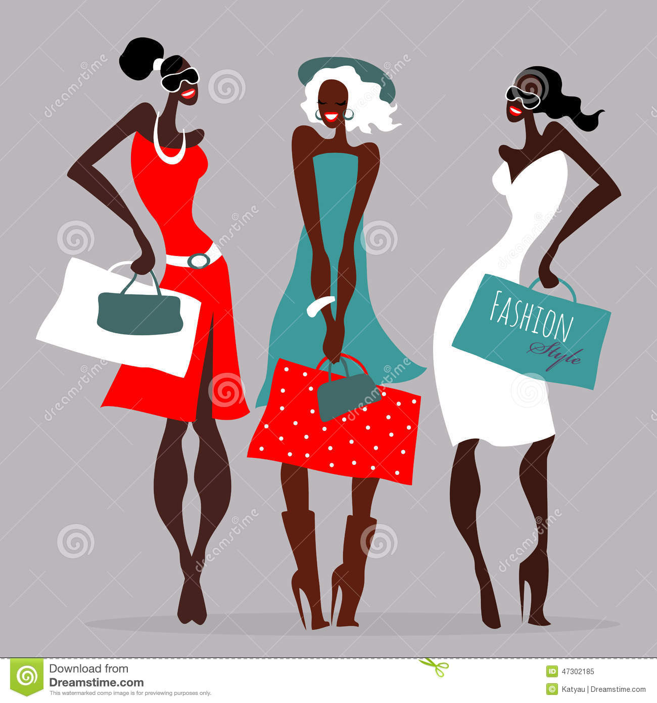 910b46cd9a Fashion Girls. Women With Shopping Bags. Stock Vector - Illustration ...