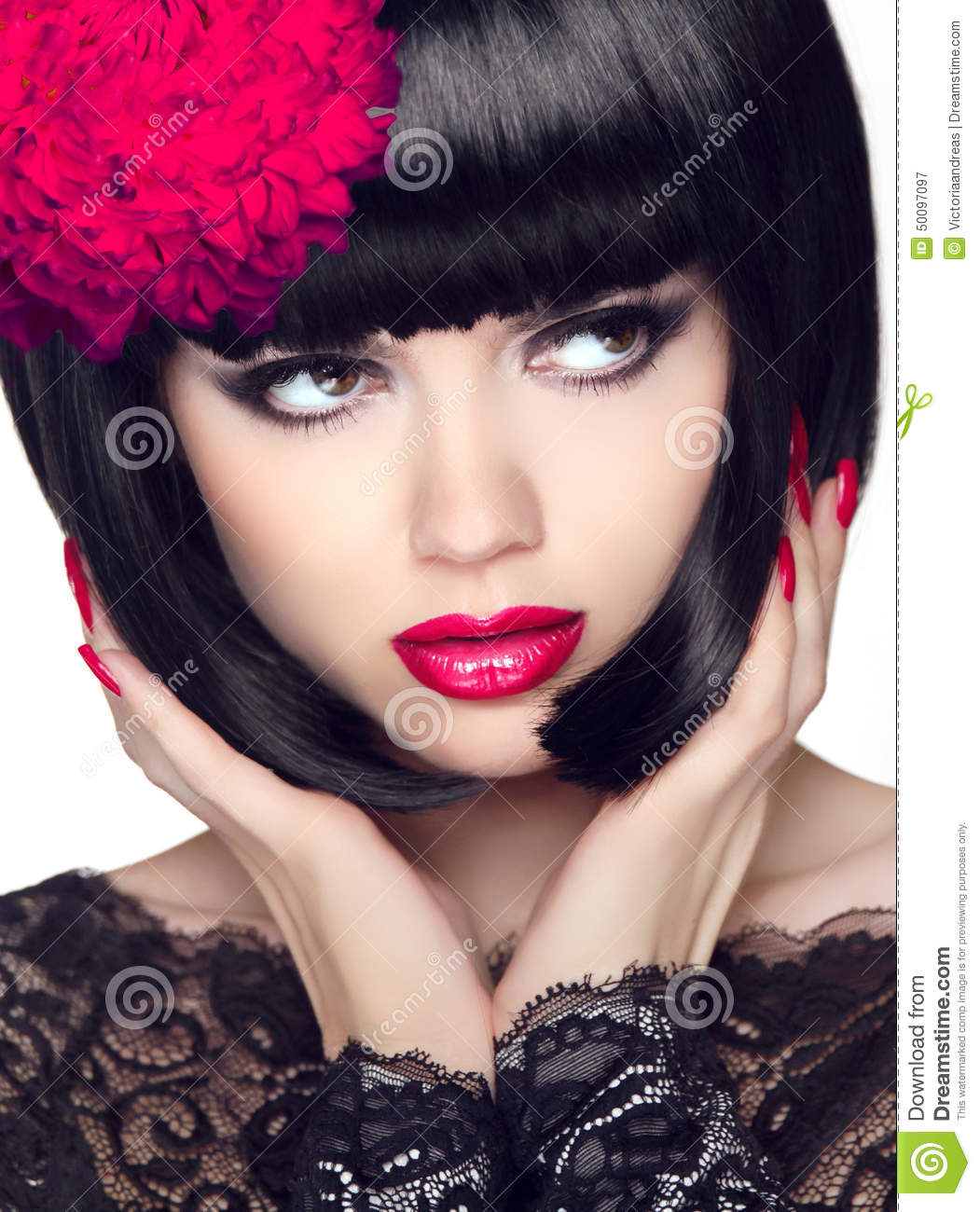 Beauty Fashion Model Girl With Short Hair Stock Photo 55059000