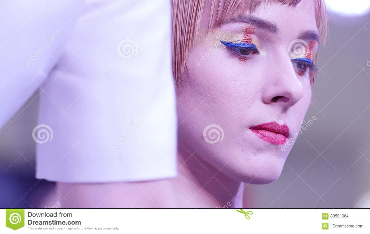 Fashion Glamour Makeup Beauty Model Girl With Glamor Golden Make Up And Hairstyle Model With Very Beautiful Face Stock Footage Video Of Hair Close 89501064