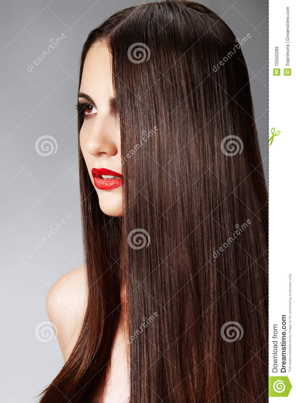 Fashion Hairstyle With Smooth Long Female Hair Royalty