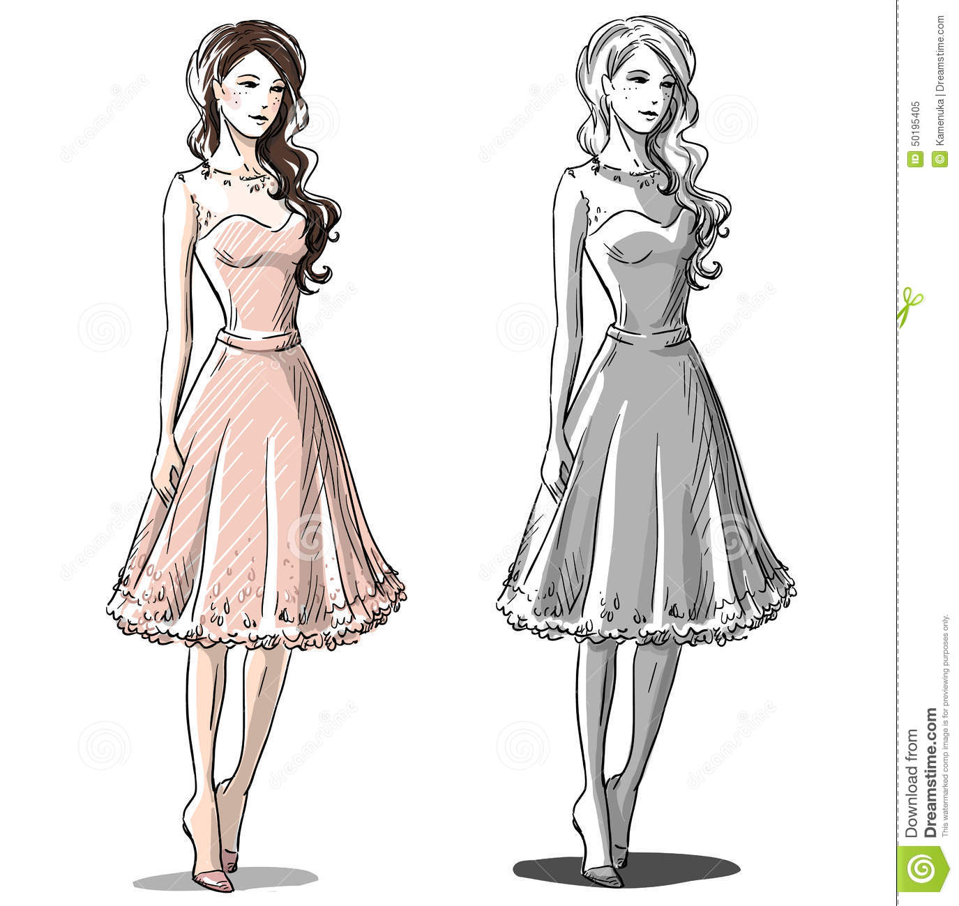 Free wedding dress sketches - Hand Drawn Illustration Prom Dress Stock Vector Image 50195405