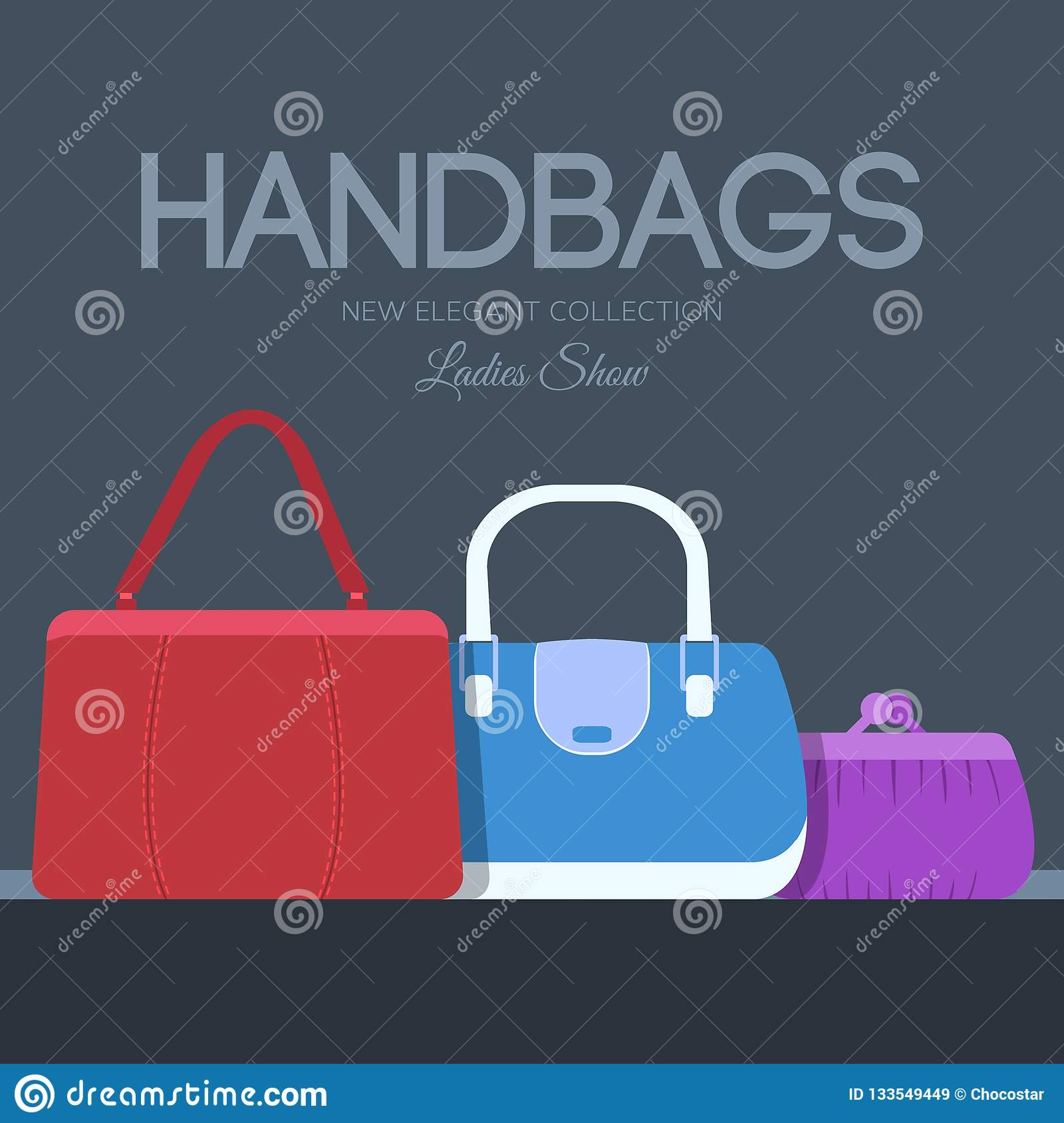d5580111e0f Fashion Handbags And Bags In Flat Illustration Concept Icons Set ...