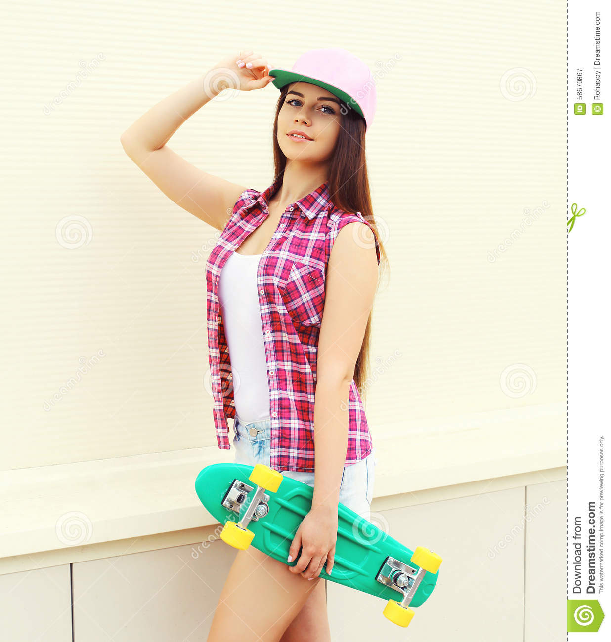 Fashion Hipster Cool Girl In Colorful Pink Clothes With Skate Stock Image Image Of Female