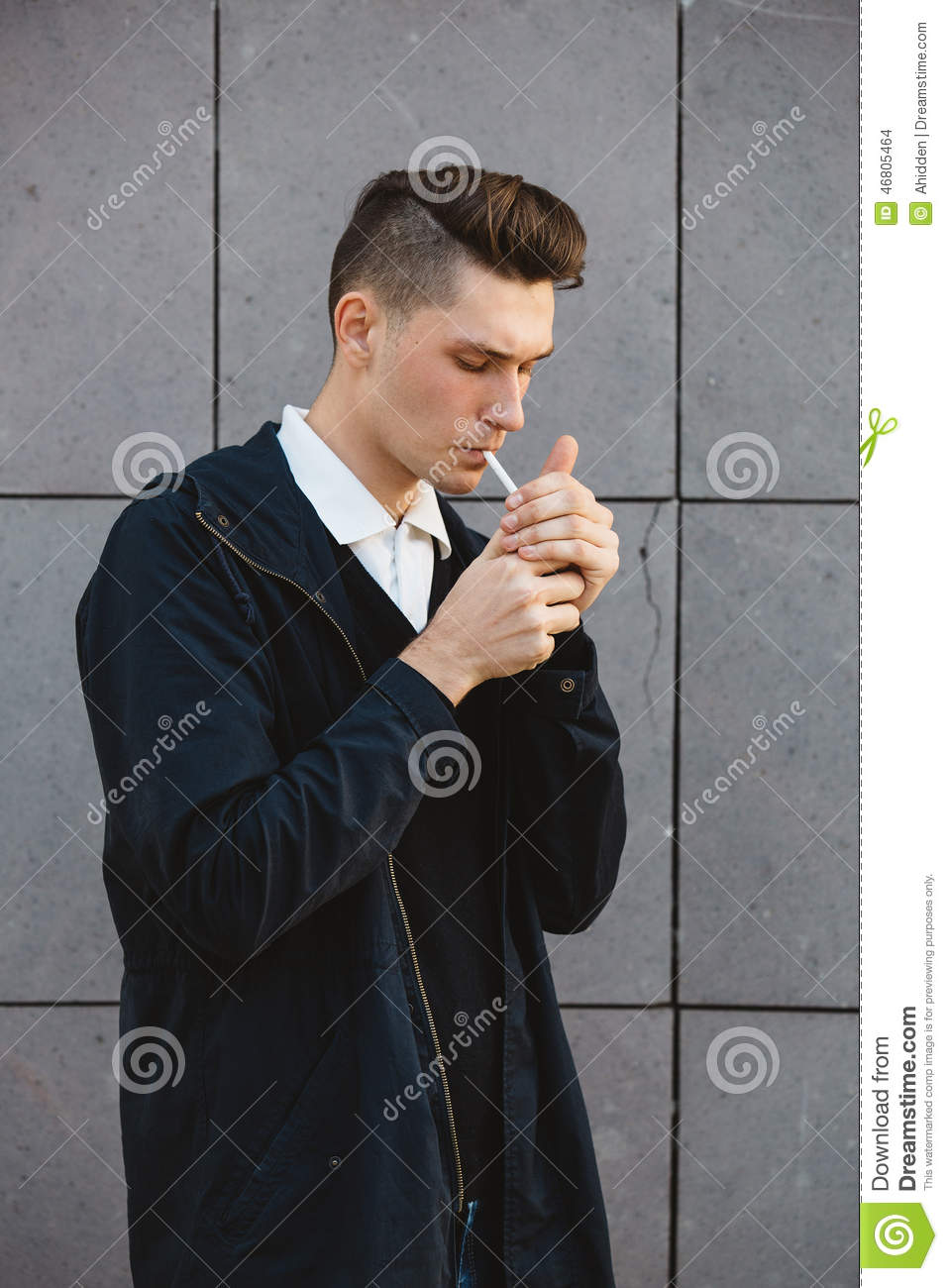 fashion hipster male model smoking stock photo image