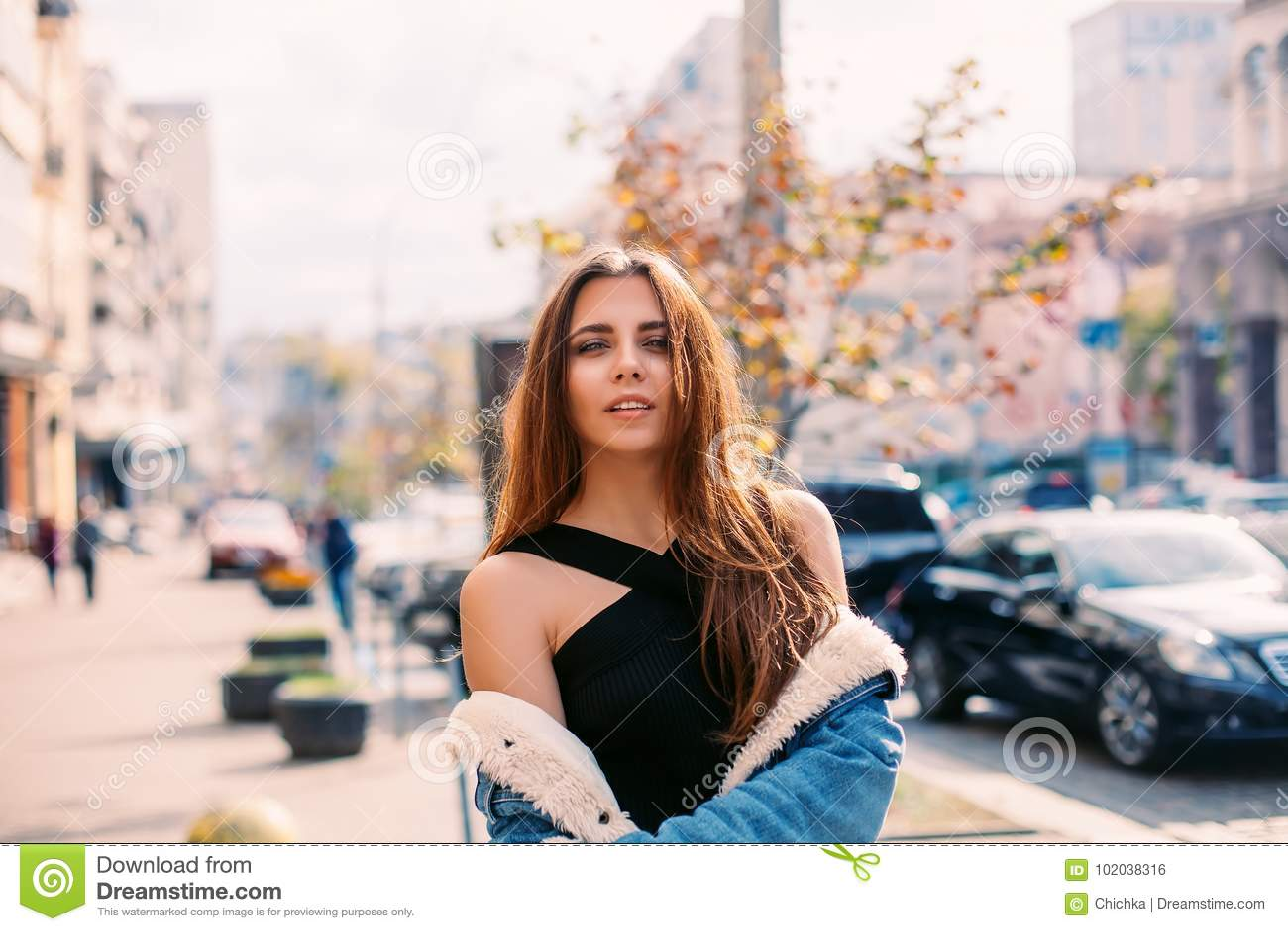 Fashion Hipster Woman Posing Outdoor Denim Jacket Red Hair