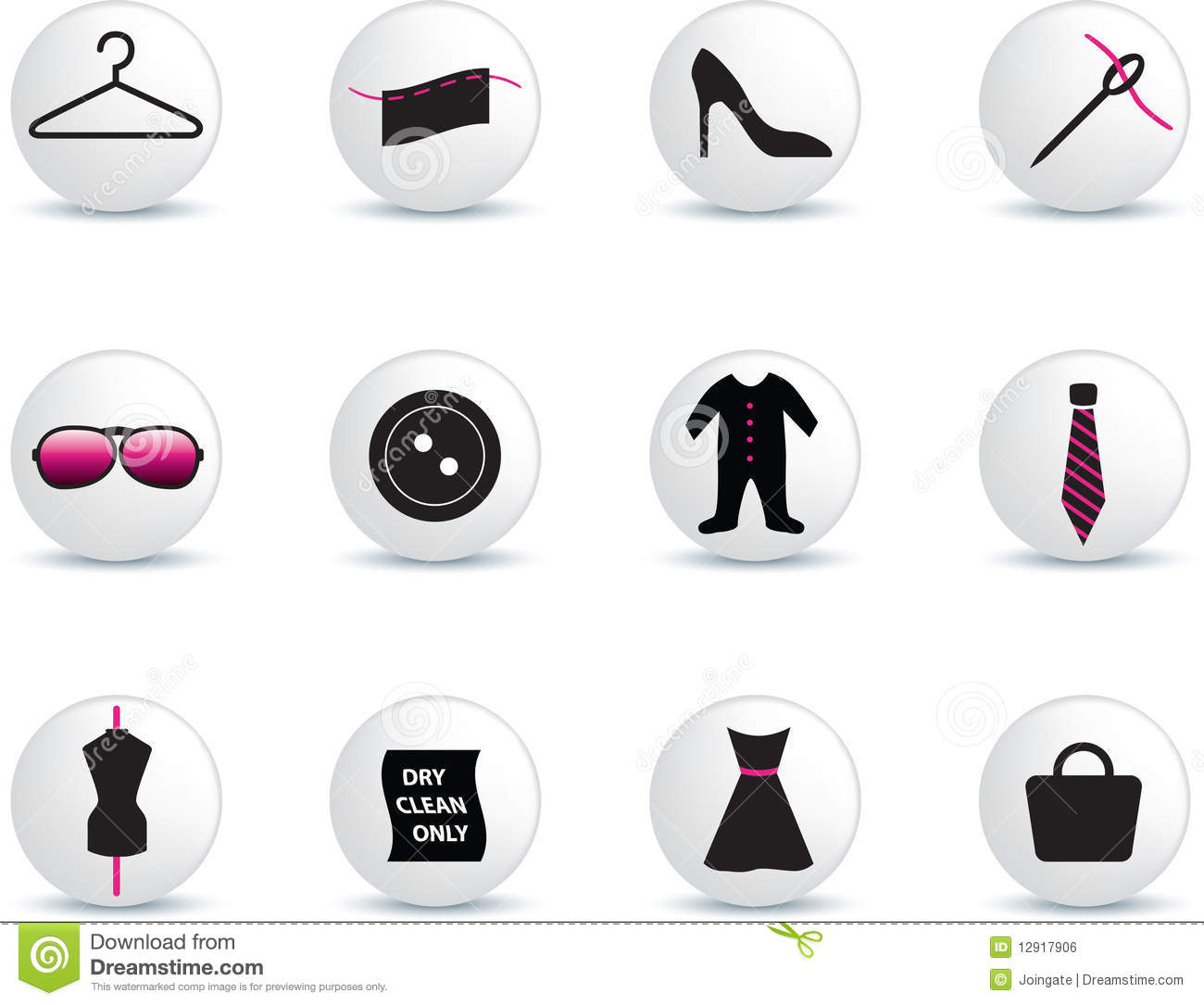 Fashion icon set stock vector. Image of pink, button ...