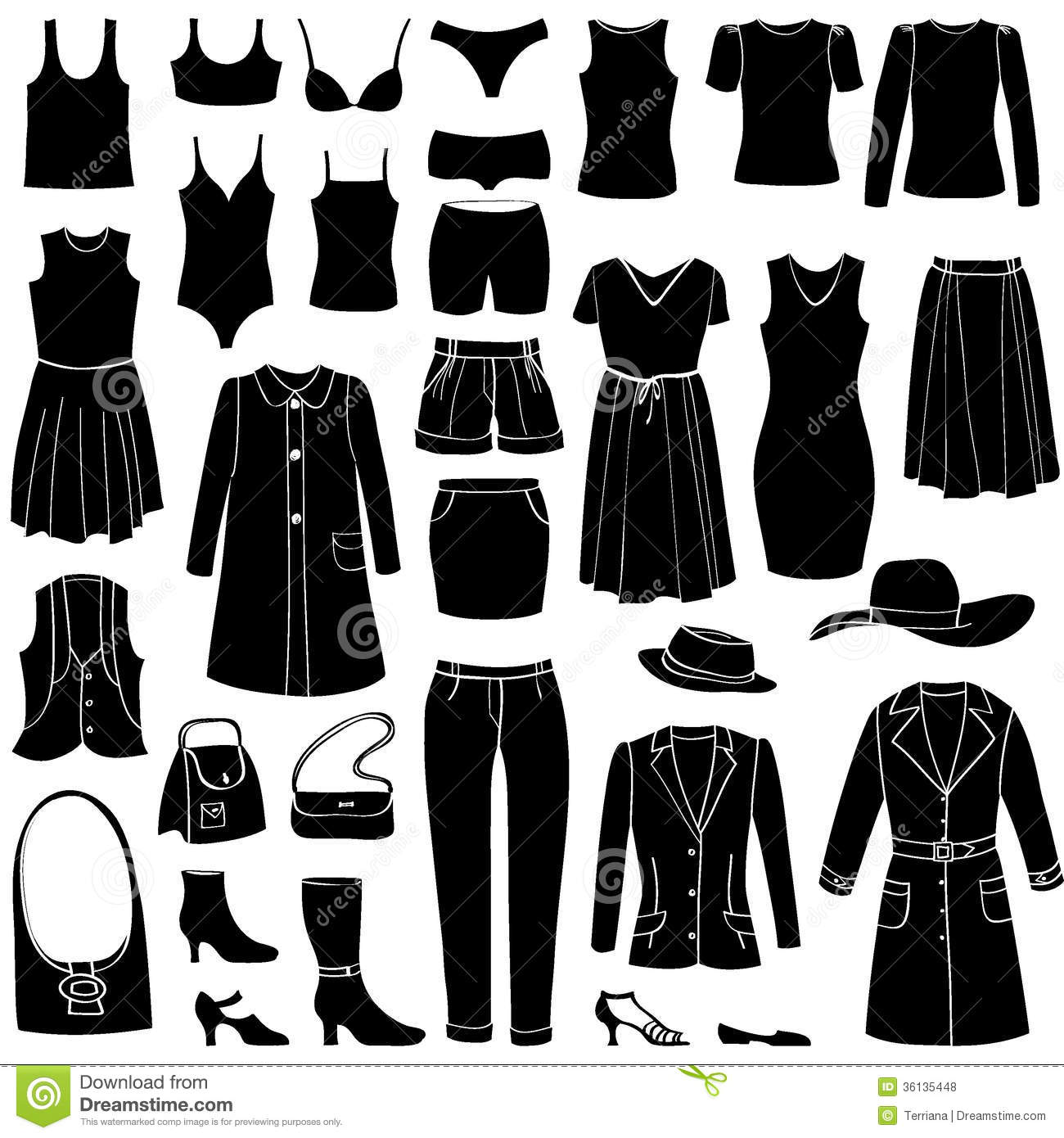 Fashion Icons Set. Female Cloth Collection. Royalty Free ...