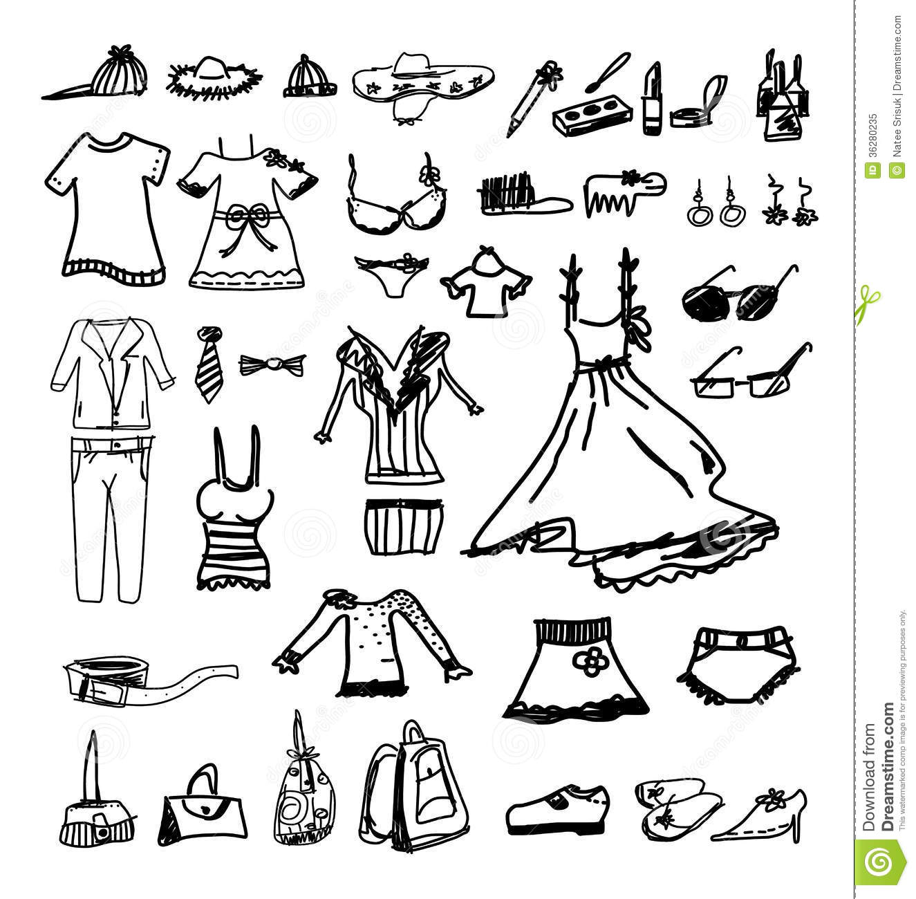 Fashion Icons Sketch Royalty Free Stock Photo Image 36280235