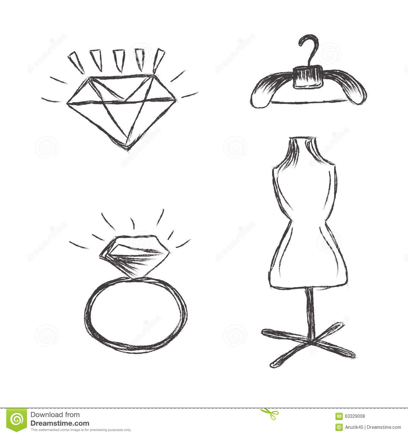 Fashion Icons Sketch White Background Vector Stock Photo Image 63329008