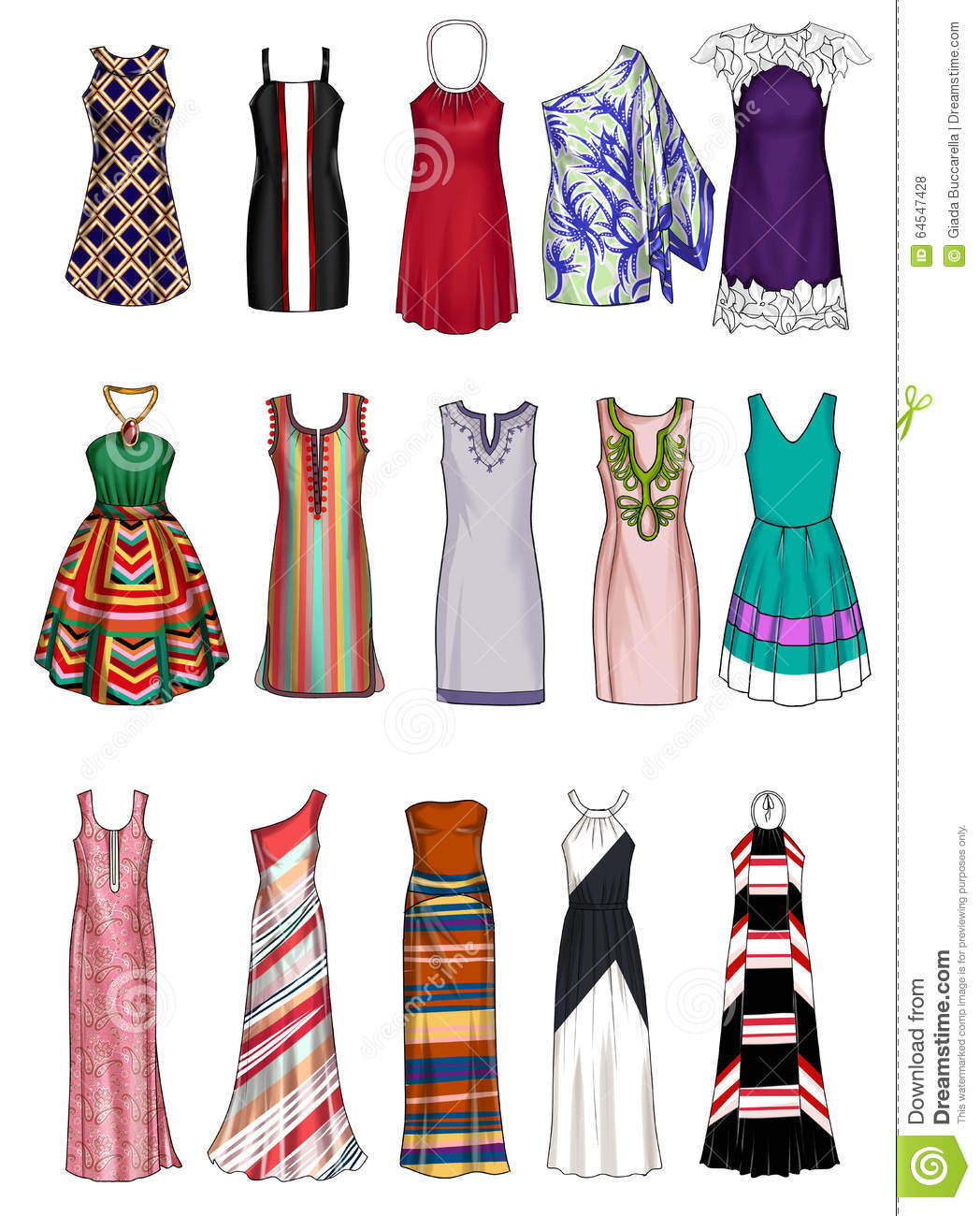 Fashion Illustration Collection Of Different Woman 39 S Clothes Stock Illustration Illustration