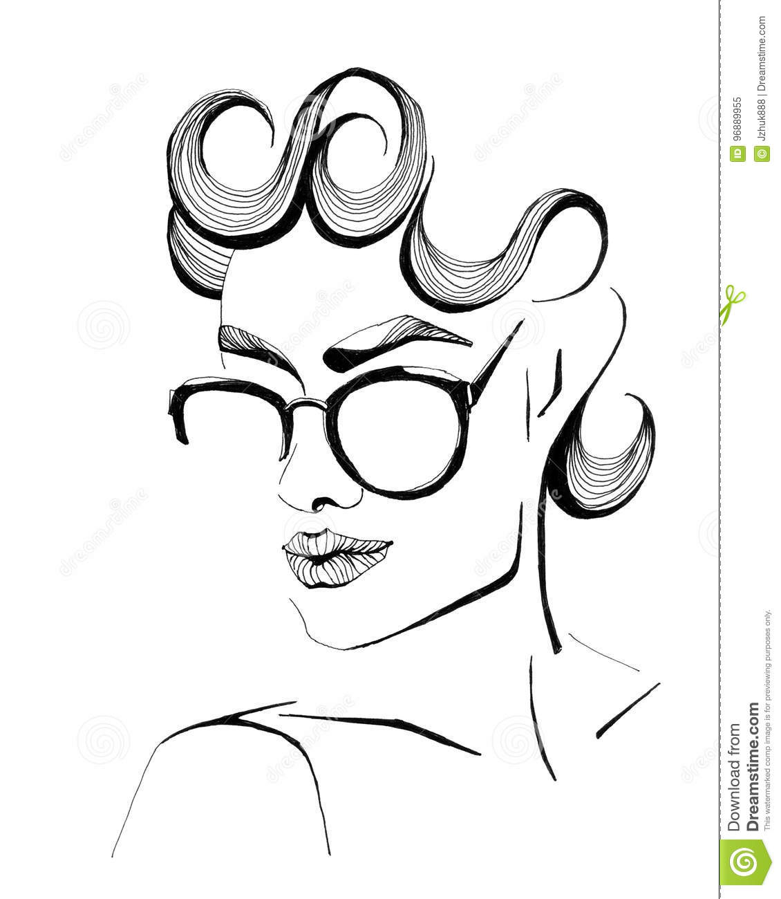 Fashion illustration of a girl with glasses stock