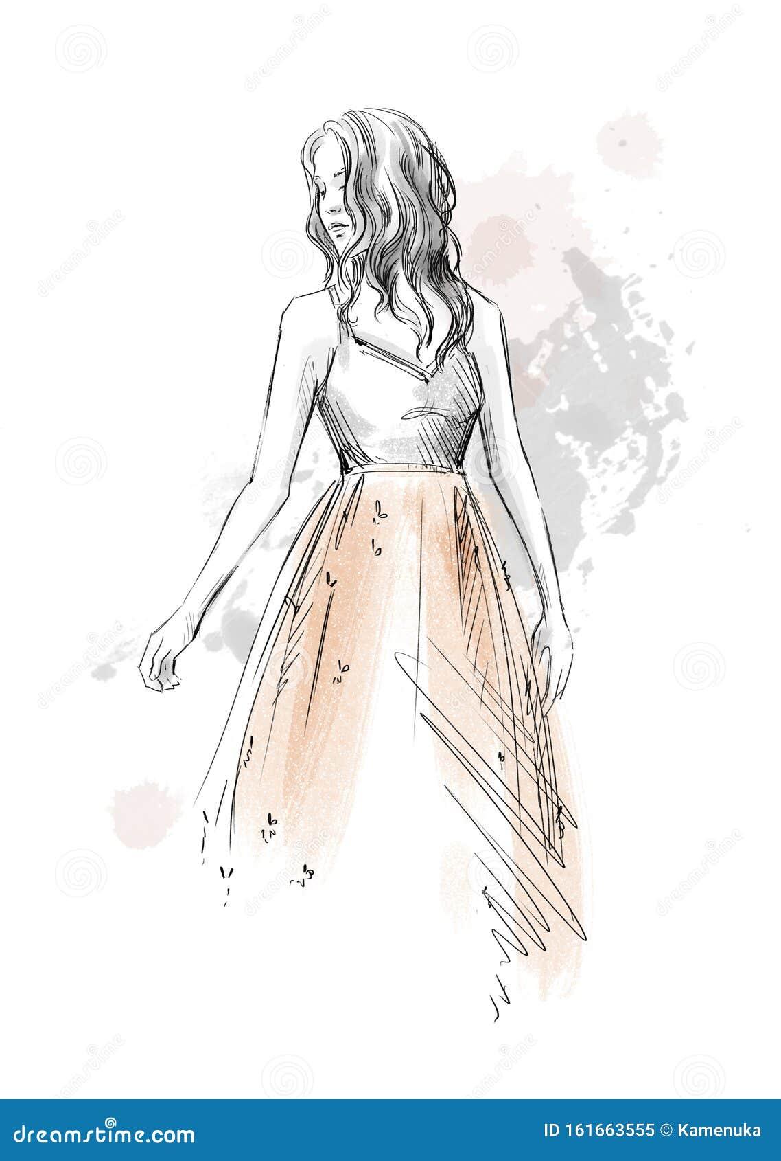 Fashion Illustration Girl In A Romantic Dress Pencil Sketch Stock Illustration Illustration Of Female Decoration 161663555